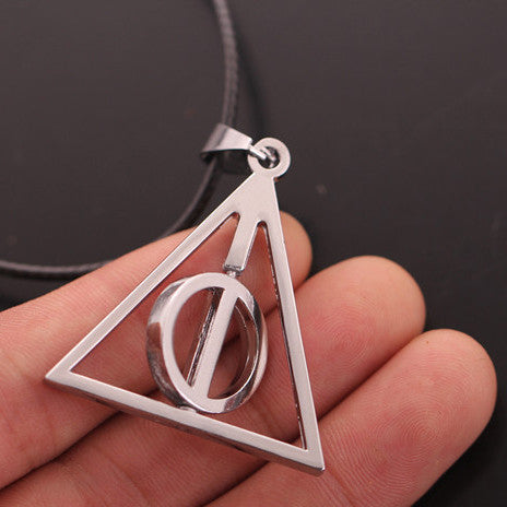 Deathly Hallows Triangle Circle Symbol Necklace