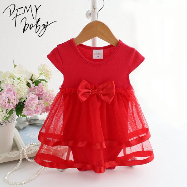NewBorn Baby Dress Summer Cotton Bow Baby Rompers
