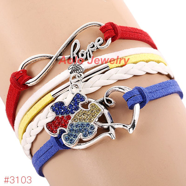 2016 New Arrival Autism Awareness Bracelet Infinity Hope Rhinestone Puzzle Piece Charm Bracelet 6Pcs/Lot ! Free Shipping!