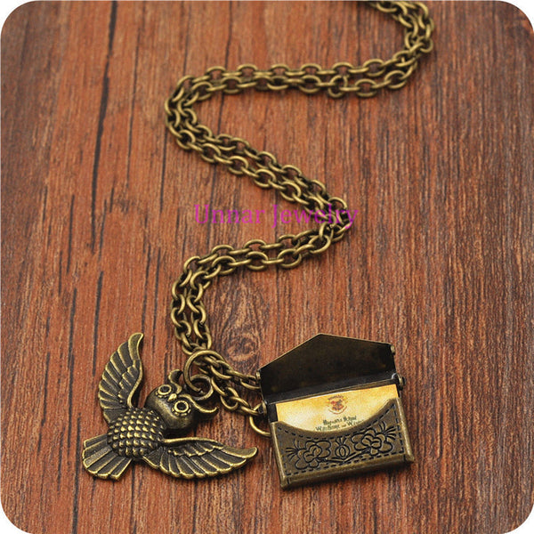 20pcs/lot Harry Potter Owl Post with Hogwarts Acceptance Letter pendant necklace