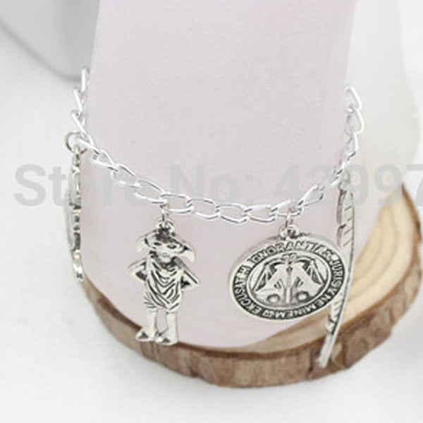 Harry Jewellery Silver Plated Charm Bead Bracelet with 4x Potter Charms