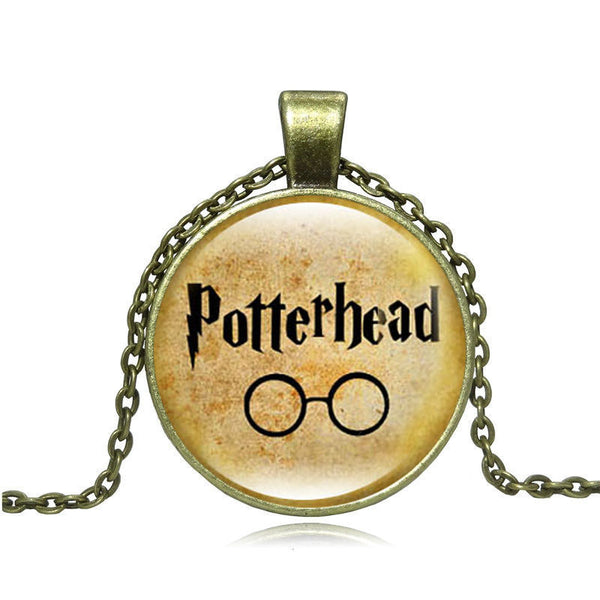 Harry Potter Vintage Necklace Glass Cabochon Letters pattern Pendant