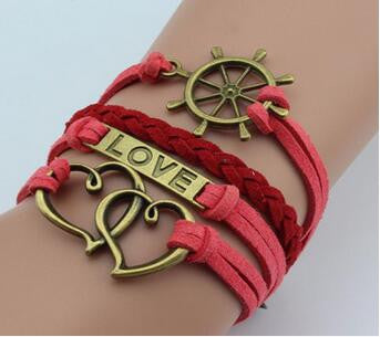 New Leather Double Infinite Bracelets Multilayer Braided Vintage Owl Harry Potter Wings