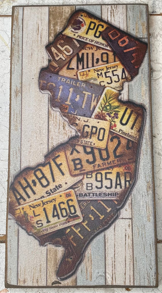 Small NJ State Plate Vintage Sign
