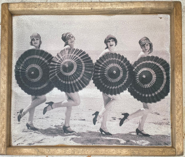 Umbrella Ladies #2 Vintage Sign