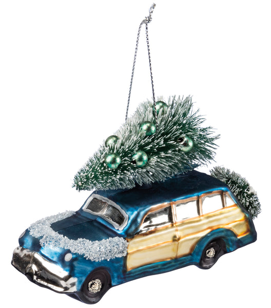 Glass Ornament - Blue Car