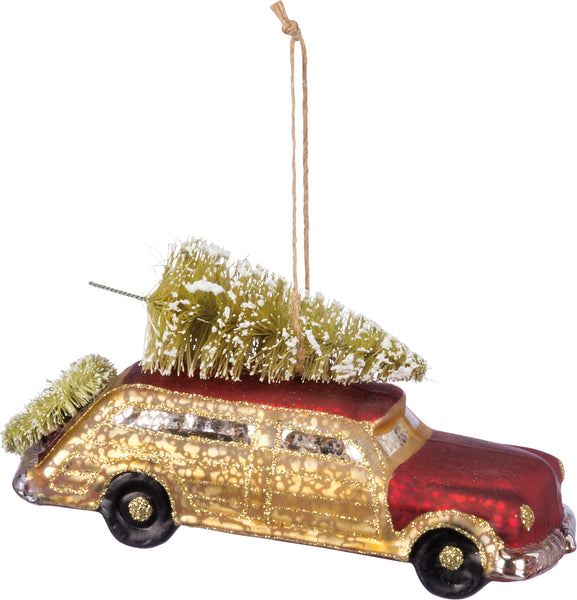 Glass Ornament - Red & Gold Car
