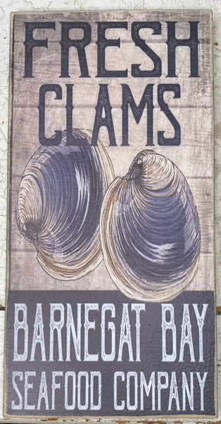 Small Fresh Clams Vintage Sign