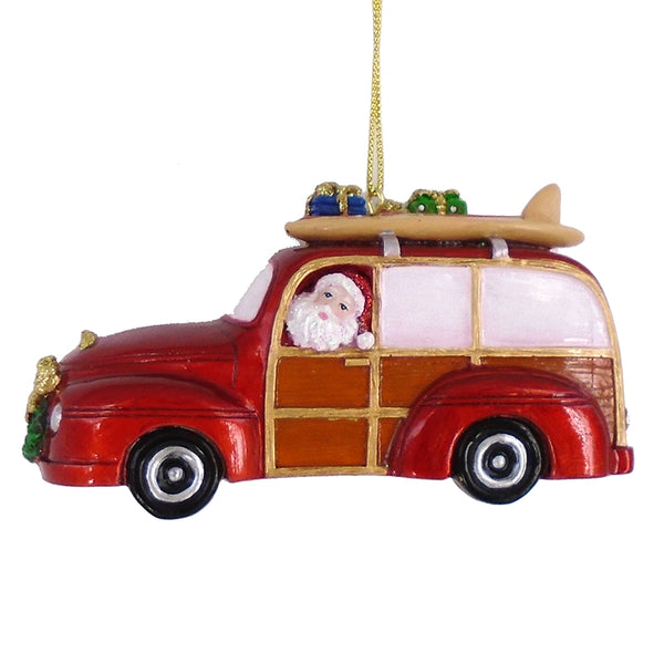 Santa In A Beach Cruiser Ornament
