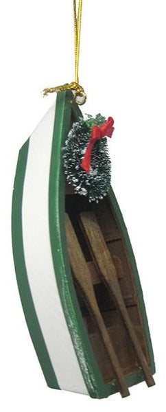 Row Boat Christmas Ornament - Green