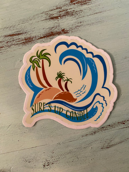 Vintage Palm Tree Wave Sticker