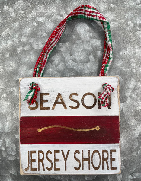 Red Beach Badge Ornament - Jersey Shore