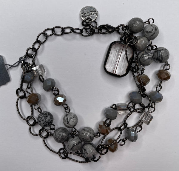Three Bead Bracelet - Black and Gray
