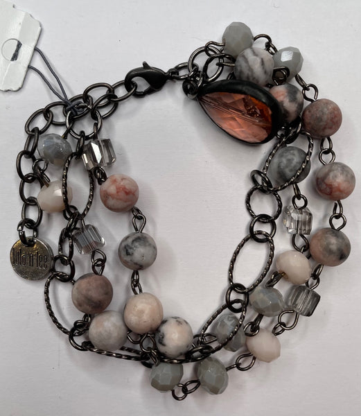 Three Bead Bracelet - Pink and Gray