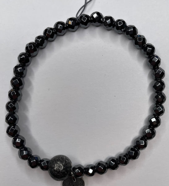 Bead Bracelet - Black with a Stone