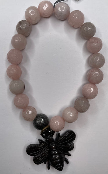 Bead Bracelet - Pink w/ Bumble Bee Charm