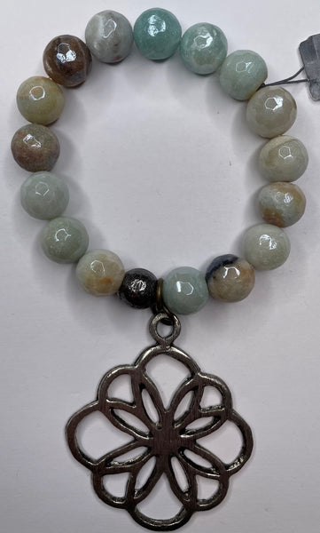 Bead Bracelet - Light and Tan Green w/ Floral Charm