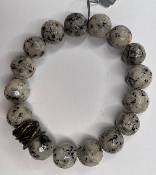 Bead Bracelet - Gray and Black Speckled Stone