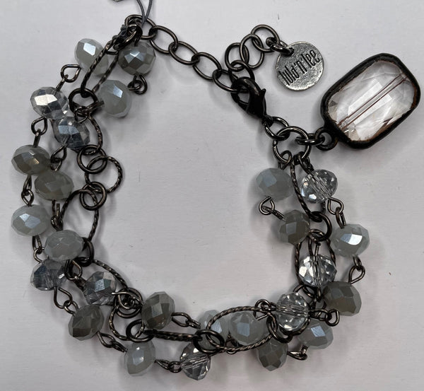 Three Bead Bracelet - Gray and Clear