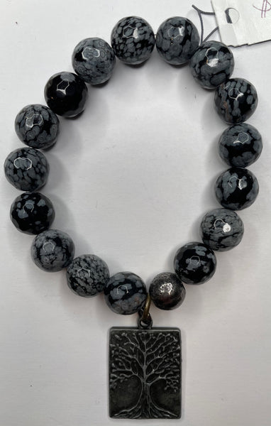Bead Bracelet - Gray and Black with Tree Charm