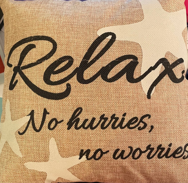 Relax Burlap Pillow