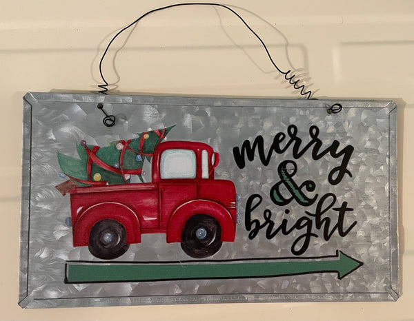 Merry and Bright Red Truck Metal Sign