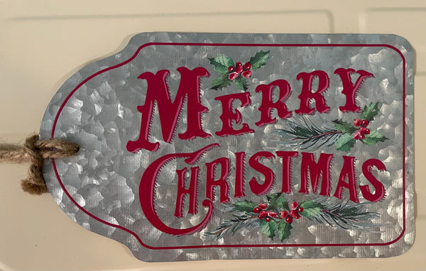 Merry Christmas Metal Tag Sign
