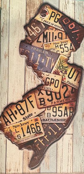 Medium NJ State Plate Vintage Sign
