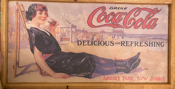 Horizontal Coca Cola w/ Girl Vintage Sign