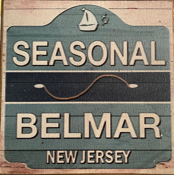 Seasonal Beach Badge - Belmar - Vintage Sign