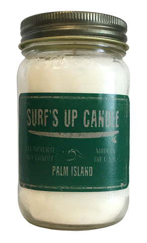 surfs up candle palm island soy candle