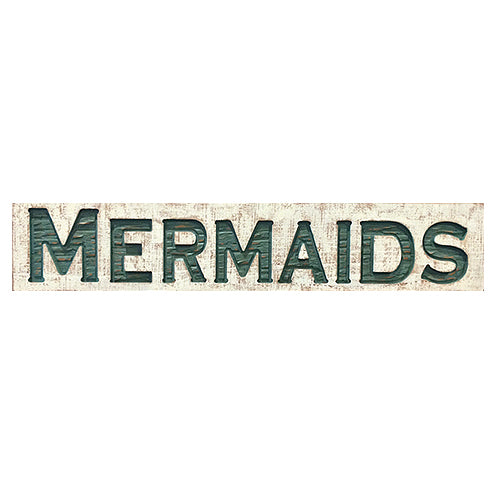 Wood Carved Mermaids Sign
