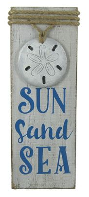 Sun Sand Sea Wood Sign