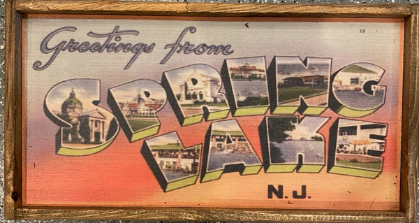 Large Greetings From Spring Lake- Vintage Sign
