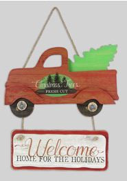 Christmas Wood Truck Hanging Sign