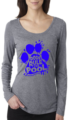 Dogs Rule The Pool Ladies' Tri-Blend Long-Sleeve Scoop Tee