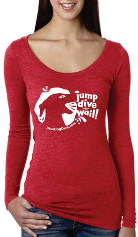 Jump Dive Wail Ladies' Tri-Blend Long-Sleeve Scoop Tee