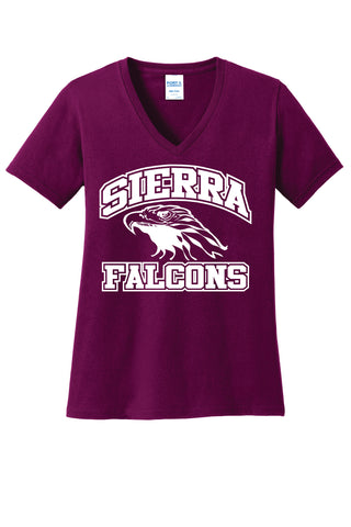 Sierra Middle School Ladies' V-Neck Cotton Tee
