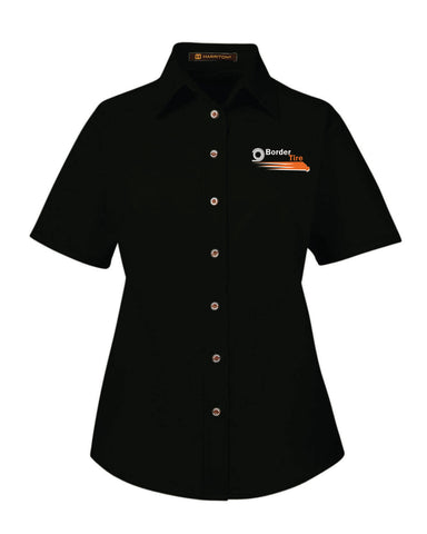 Border Tire Ladies' Easy Blend™ Short-Sleeve Twill Shirt with Stain-Release