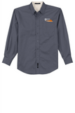 Border Tire Long-Sleeve Easy Care Full-Button Shirt
