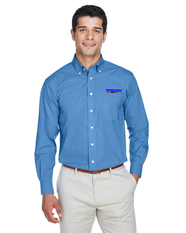 Idealease Crown Woven Collection™ Solid Broadcloth Full-Button Shirt