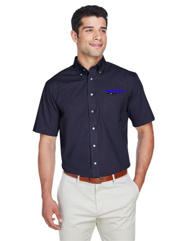 Idealease Crown Woven Collection™ Solid Broadcloth Short-Sleeve Full-Button Shirt