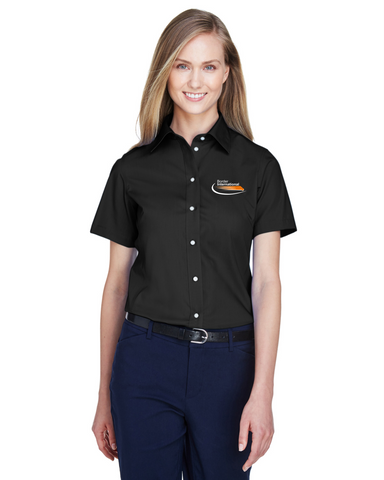 Border International Ladies' Crown Woven Collection™ Solid Broadcloth Short-Sleeve Full-Button Shirt