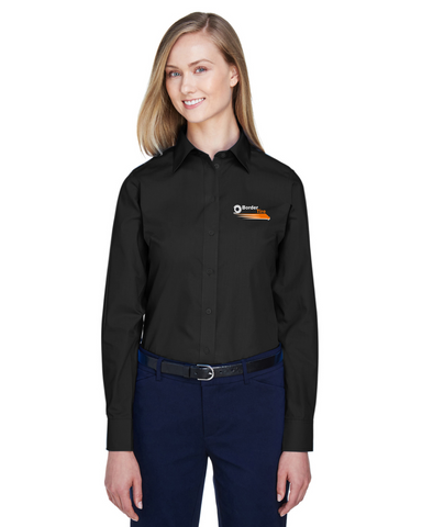 Border Tire Ladies' Crown Woven Collection™ Solid Broadcloth Short-Sleeve Full-Button Shirt