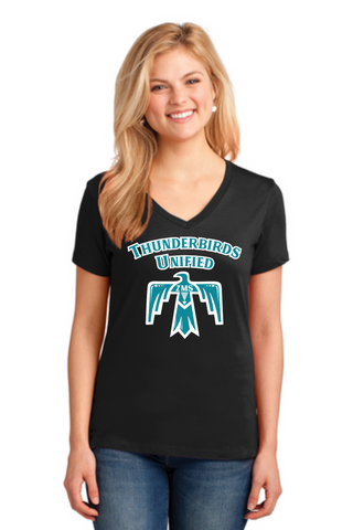 Zia Thunderbirds Unified Ladies' V-Neck Cotton Tee
