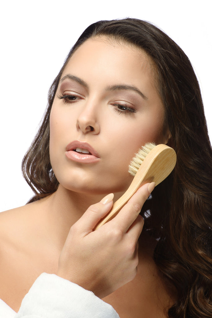 Natural Boar Bristle Body Brush and Face Brush Set for Dry Brushing, Bath and Shower with Long Handle - Exfoliate Skin, Reduce Cellulite and Improve Circulation - Green