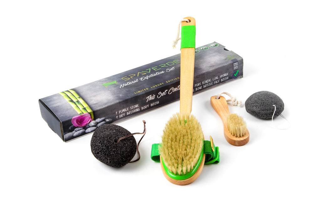100% Natural Exfoliation Set - Dry Brushing Body Brush, Boar Bristle Face Brush, Konjac Sponge & Pumice Stone - Exfoliate Skin Naturally - Best Kit For Glowing Face & Healthy Body - Perfect As a Gift