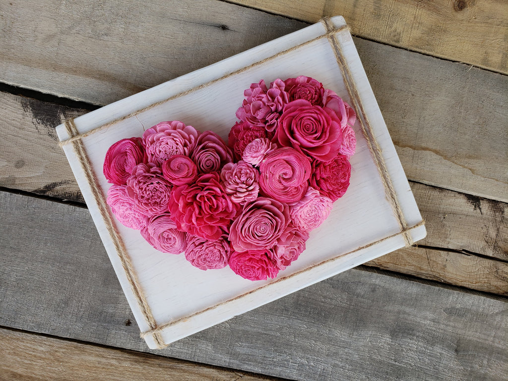 Wood Flower Heart Sign, Wood Sign, Rose & Bee Organics, Rose & Bee Organics - Rose & Bee Organics
