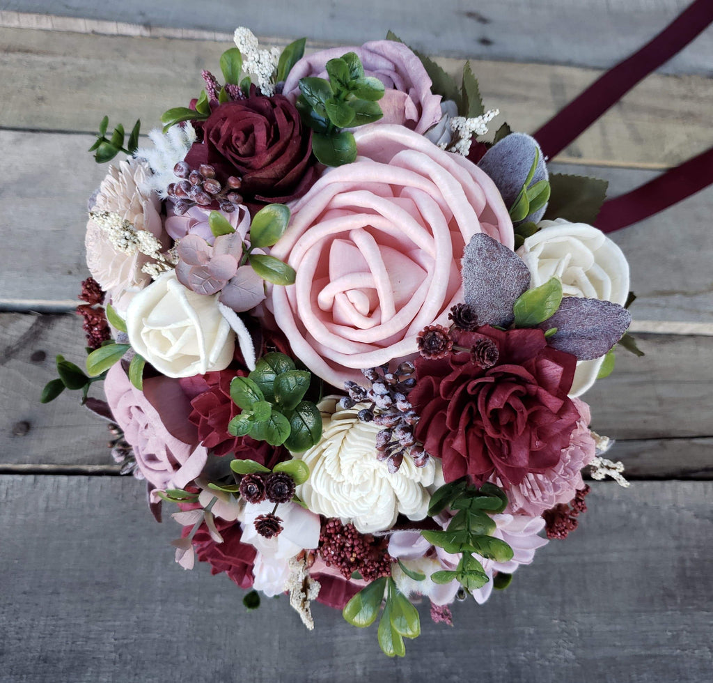 Blush and Burgundy Bridal Bouquet, Bridal Bouquet, Rose & Bee Organics, Rose & Bee Organics - Rose & Bee Organics