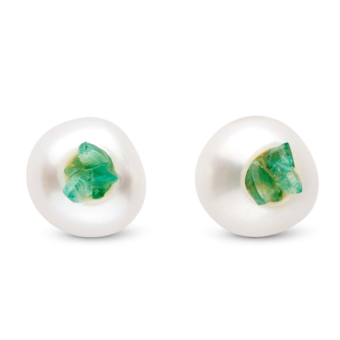 Emerald Point Pearl Stud Earrings